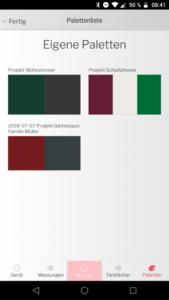 Datacolor ColorReader App Farbpaletten